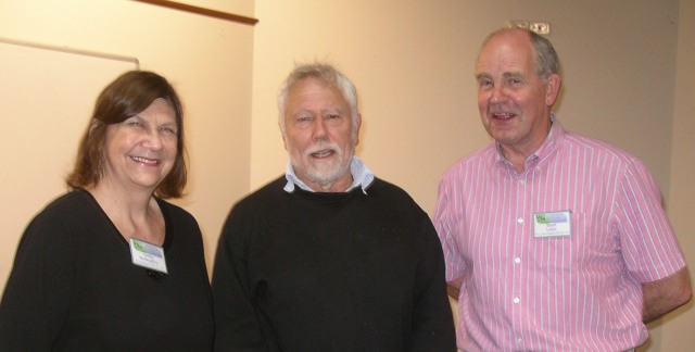 Past President Lesley McNaughton, speaker John Booth, President Stuart Leitch