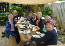 The I Spy group enjoys morning tea after an outing